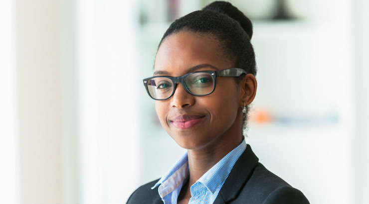 Black-woman-in-the-office-smiling